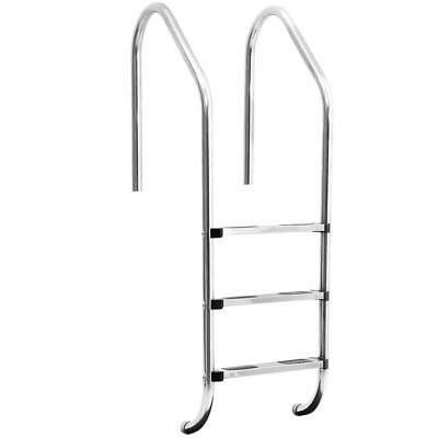 Stainless Steel Pool Ladder 140cm x 50cm Handrails with Non Slip Steps Safety
