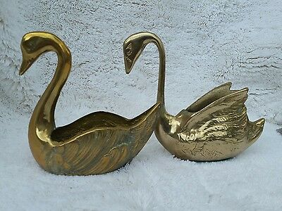 Vintage Pair Of Solid Brass Swan Planters