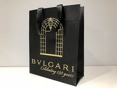 Used - BULGARI - bolsa Negra - Black paper bag - 32,5 x 26,5 x 11,5 cm