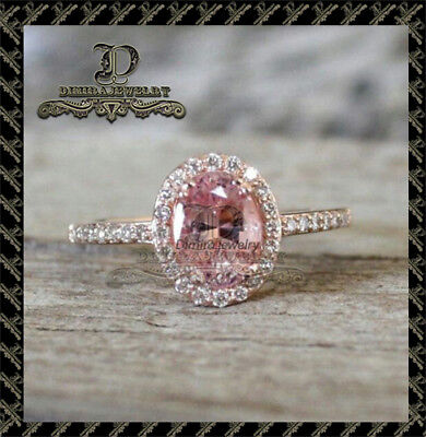 2Ct Oval-Cut Pink Diamond Halo Engagement Ring 10K Real Rose Gold