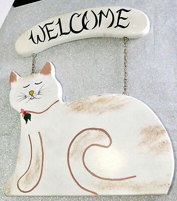 New Wood Country Primitive White Kitty Cat Welcome Greetings Door Sign Plaque