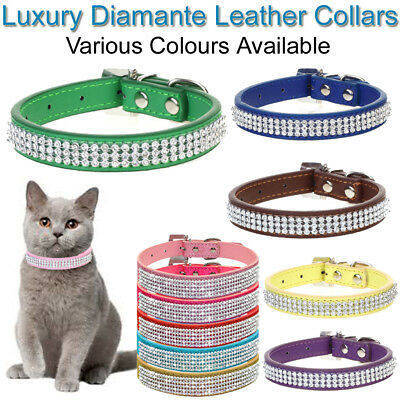 Diamante Cat Collar PU Leather Pet Band Kitten Adjustable Bling Sparkle Crystal