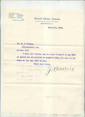 1906 Letter From J P Dolliver Senator Committee Education & Labor