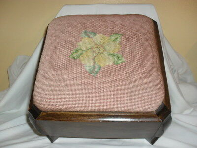 Vintage Needle Point Square Foot Stool