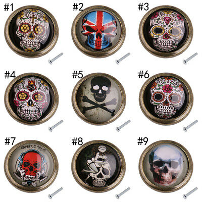 Skull Print Wardrobe Knobs Door Cupboard Drawer DIY Home Furniture Pull Handles