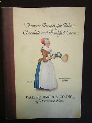 Antique booklet:  Famous Recipe;s for Baker's Chocolate 1928