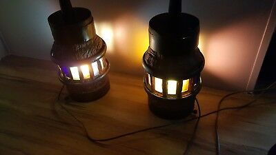 Antique wagon wheel hub pair, lamp, party light, stained glass....