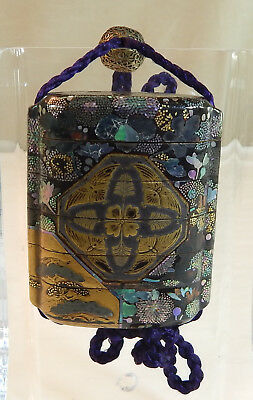 Japanese Gold and Burgante 6-Case Lacquer Inro with Flower Decoration