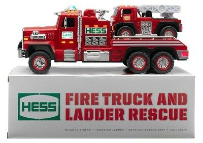 New ~ Hess 2015 Fire Truck And Ladder Rescue Trucks W/ Working Lights & Siren!