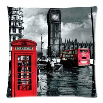 Vintage london landmark red telephone booth Throw Pillow Case 18x18 twin sides