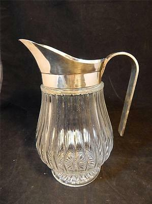 VTG Silver Plated ITALY Heavy Ribbed Glass Beverage Pitcher w/Ice Lip EUC