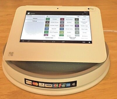 CLOVER MINI POS Point of Sale SWIVEL TURN BASE NEW w/ Visa MC Disc Amex sticker