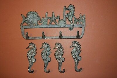 (5), Vintage-style Beach Home Decor, Seahorse Wall Hooks, Cast Iron, Bronze-look