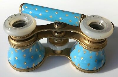French Opera/Theater Glasses in Azure Blue Enamel, Fleur-de-Lis and Lorgnette