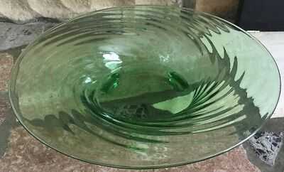 Vintage Green Vaseline Glass Ribbed Swirl Bowl Footed