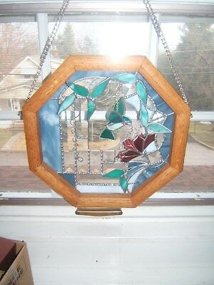 Stained Glass Octagon Frame With Beautiful Color Glass Flowers And Bird Nice!