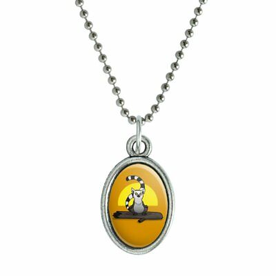 Ring-Tailed Lemur on Log Antiqued Oval Charm Pendant with Chain
