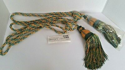 "Vintage Quality Large Pair of Tassels Curtain Tie-backs Rope 26"" Greens & Golds"