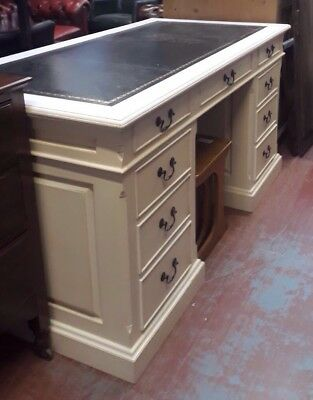 ANTIQUE STYLE Painted Mahogany  TWIN PEDESTAL writing Desk With leather top