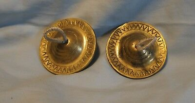 Pair of Antique sand cast Brass Belly Dancer Finger Symbols Gypsy