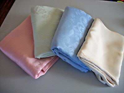 4 Colored Damask Tablecloths Poly - Poly Blend Pink Green Yellow, Blue! Use Cut