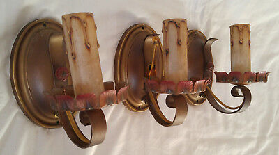 3 Antique Vtg 1920's Gold Red Blue Polychrome Floral Wall Light Fixture Sconces