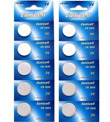 5x CR2032 3V Eunicell  Lithium Button Cell Batteries Watch Car Remote Fob Toys