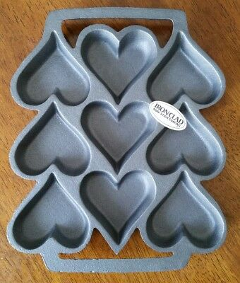 John Wright Cast Iron Heart Shaped Muffin Pan Cookie Mold Vintage NOS