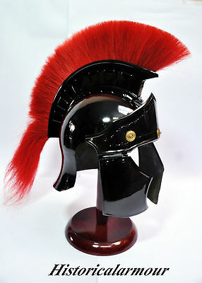Greco Roman Armor Helmet  Medieval Knight Crusader Spartan  Steel WITH RED PLUME
