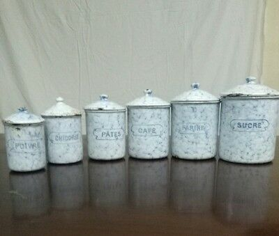 VINTAGE FRENCH ENAMELWARE CANISTER SET 6 Lot SUGAR COFFEE CONTAINERS marked B.B.