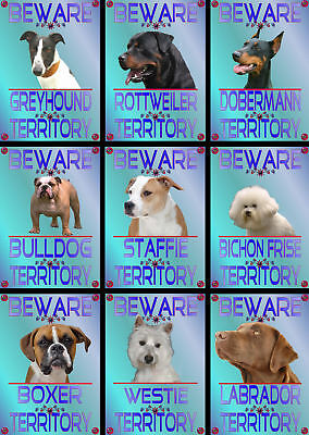 Beware Of The Dog Signs Territory Various Breeds set1
