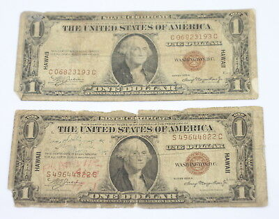 Lot Of *2* U.s. Ww2 1935 $1 Hawaii Emergency Notes One Is A Short Snorter Nr
