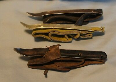 Lot Of 3 (2 Antique 1 New) Farmers Leather/metal Hand Held Corn Huskers Shuckers
