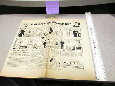 OVALTINE PROOF 1935 mag news ad blank back LITTLE ORPHAN ANNIE premium BETTY