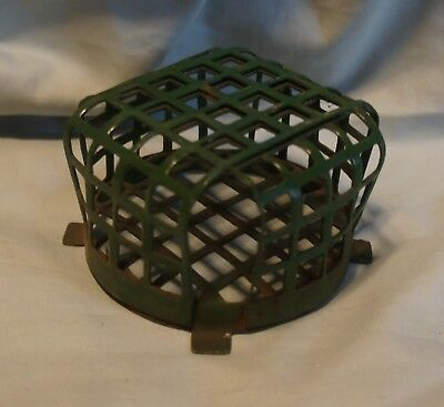 "Vintage Large Round Metal Flower Holder Cage Frog 3 3/8"" Diameter"