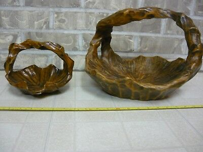 Vintage Wood Handled Basket Bowl Set of 2