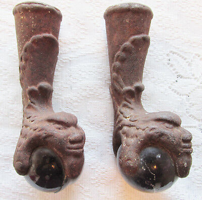Antique Ball Face Claw Foot Tub Table Feet Cast Iron Vintage Tub Set of 2