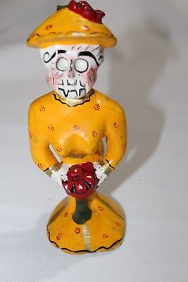 404 SKULL MEXICAN WOODEN FIGURE collection calavera coqueta artesania mexicana