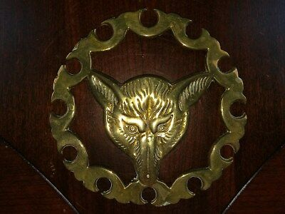 Vtg Solid Brass Trivet Metal Wall Hanging Fox Hunting Gold Wolf Dog Horse Decor
