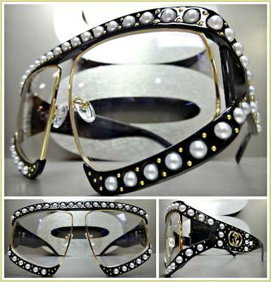 OVERSIZED RETRO Style Clear Lens EYE GLASSES Black & Gold Pearl Frame HANDMADE!