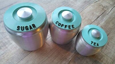 Rare 1950s Turquoise Green Kromex Mid Century Modern MCM 3 Canister Set