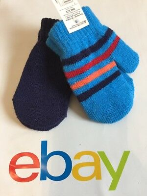2 Pair Boys Girls Knit Gloves Mittens Baby Toddler Size 2T 3T, Navy Blue