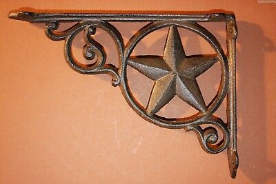 (4) 9 inch Lone Star Shelf Brackets, Heavy Cast Iron, Hand-cast,Texas Decor,B-19
