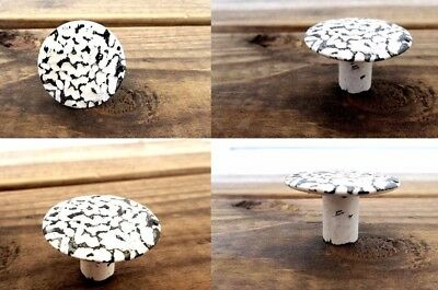 TWO Distressed White Cabinet Knobs Drawer Handles Pulls Farmhouse Shabby Beach