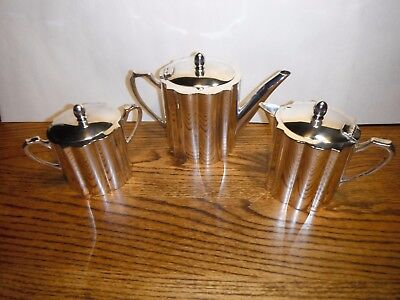 3 Piece Silver Plated Tea Set, Wedding Decoration from Chile, Windsor Plaque