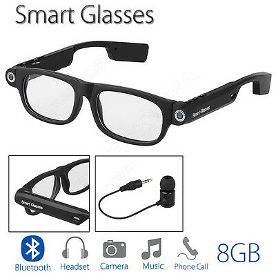 Smart Glasses Bluetooth 8GB Headphone Headset Wireless Handfree for Smartphone