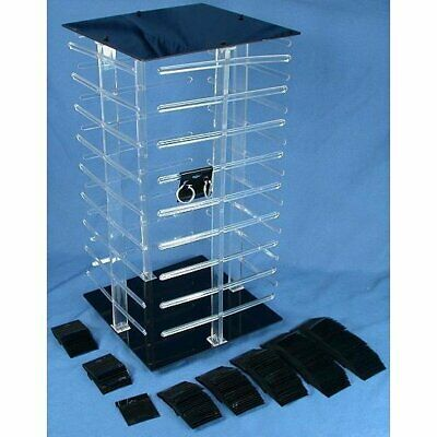 "4 Sided Revolving Rotating Jewelry Display Stand with 100 2"" Black Earring Cards"