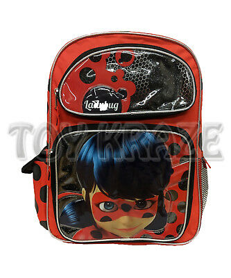 "Miraculous Ladybug Backpack! Red Polkadot Large Girls School Book Bag 16"" Nwt"