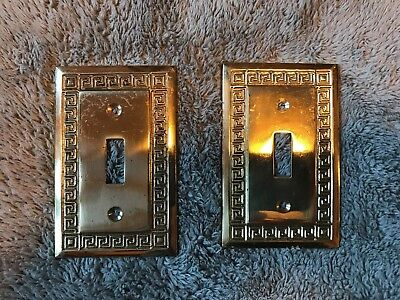 2 Vintage Solid Brass Ornate Light Switch Plate Cover /  Floral Design