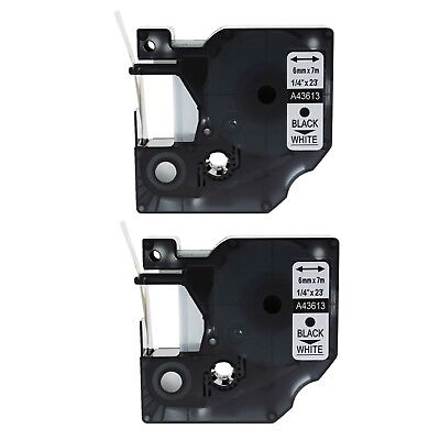 2PK 43613 Black on White Label Tape for DYMO D1 LabelManager 350 350D 6mm 1/4""